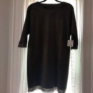 ZARA suede olive green dress NWT